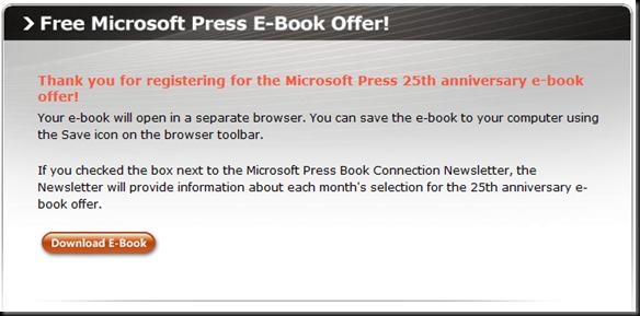 Free Microsoft Press E-Book Offer!