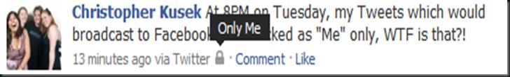 """""""Only Me"""" locked tweet on Facebook"""
