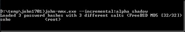 Password CRACKED in seconds! user:root pwd:soho
