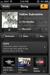 SoundHound finding Yellow Submarine