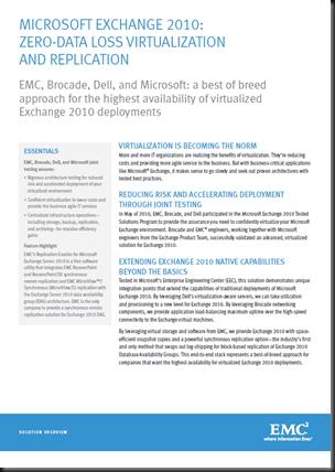 Microsoft Exchange 2010 Zero-Data Loss Virtualization and Replication