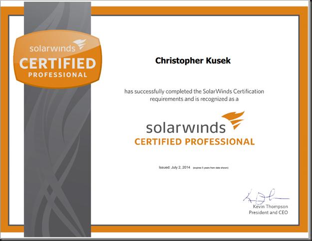 OMG i'M A SOLARWINDS CERTIFIED PROFESSIONAL!