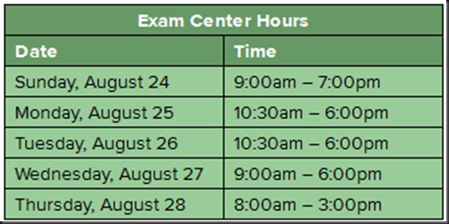 VMware Exam Testing Center Hours